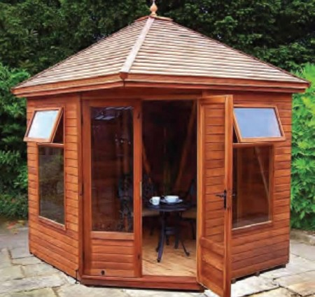 8' wide x 8' deep cedar Martley with optional cedar slatted roof.