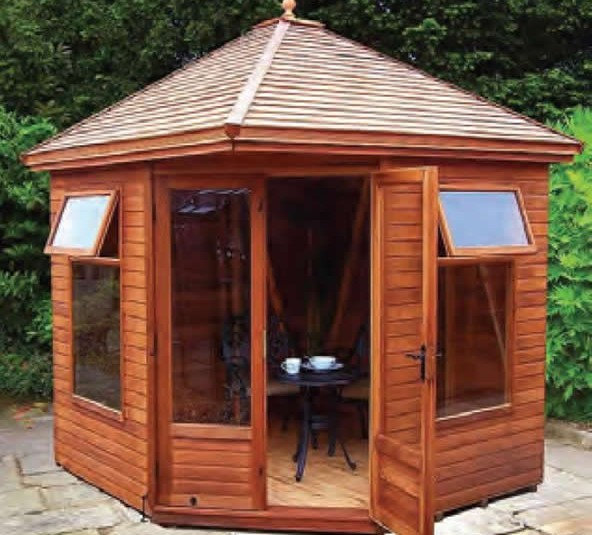 8′ wide x 8′ deep cedar Martley with optional cedar slatted roof.