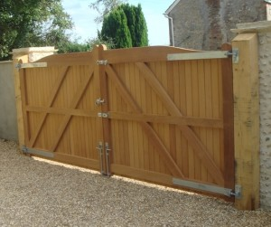 large wooden gates