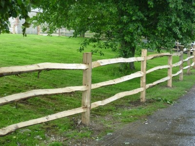 Chestnut Post and three rail Fence-2