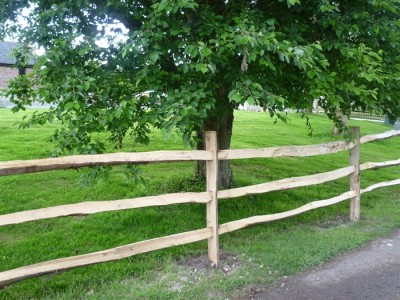 Chestnut Post and three rail Fence-3