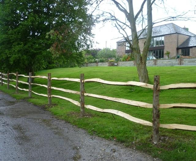 Chestnut Post and three rail Fence-4