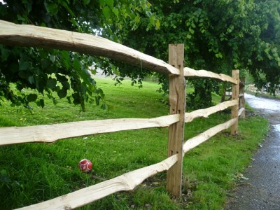 Chestnut Post and three rail Fence