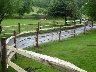 Chestnut Post and three rail Fence-5