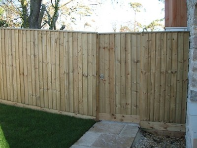 Featheredge fence with matching gate