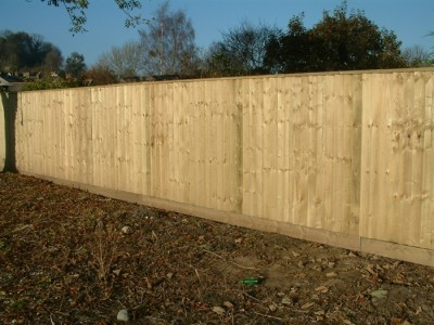 Featheredge fencing and gravel board