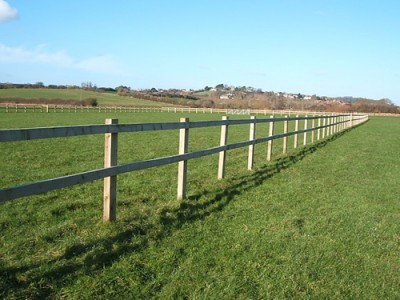 Post and two rail fence