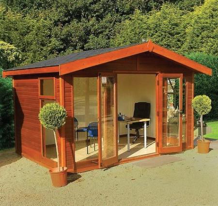 Studio Apex 12' x 8' Cedar, Wider Windows, black felt tiles, medium oak finish, MDF lining and laminate floor