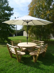 outdoor picnic table and parasol