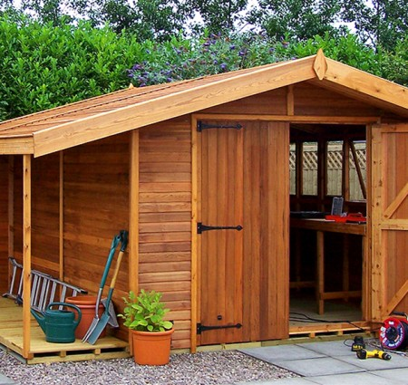 Stanford Apex 12' x 10' cedar with optional logstore, lower ridge height, cedar slatted roof and double doors