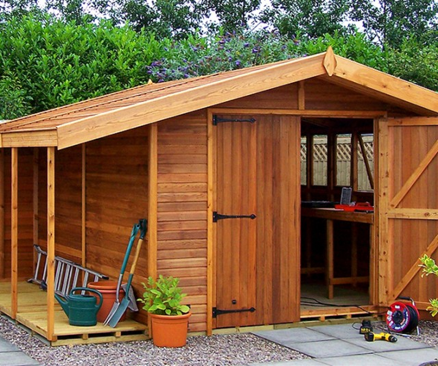 Stanford Apex 12′ x 10′ cedar with optional logstore, lower ridge height, cedar slatted roof and double doors