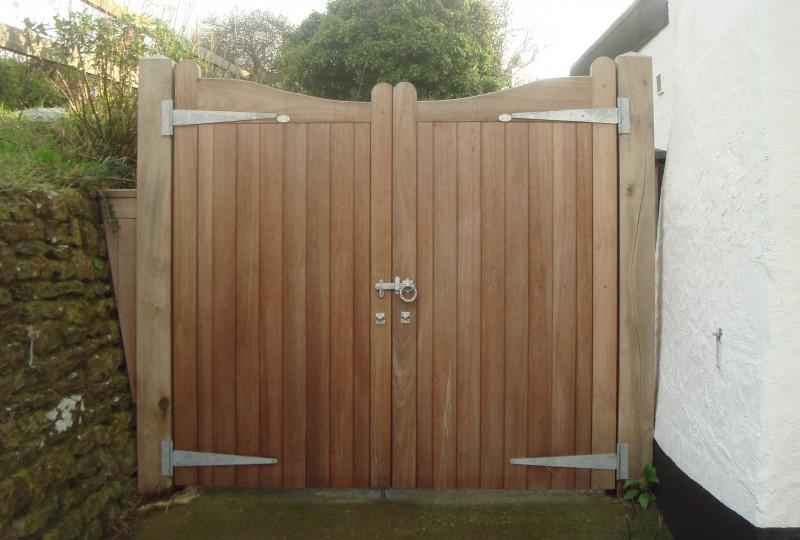 Iroko hardwood gate