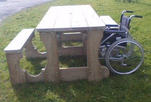Wheelchair friendly bench