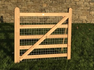 wooden gate with wire