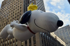 Snoopy flying