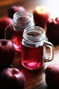 Glass of red apple juice