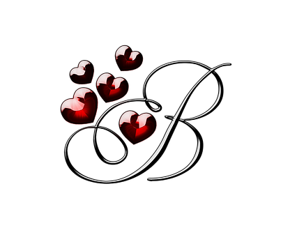 Capital letter B with rubies