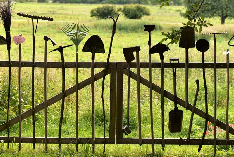 Metal gate made from gardening tools