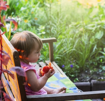 Child eating peach on garden bench