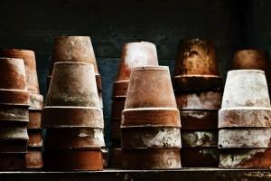 Terracotta flower pots in a pile
