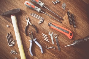 Tools on table