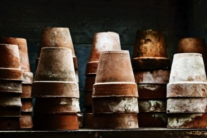 Terracotta pots stored upside down