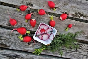 radishes whole and sliced