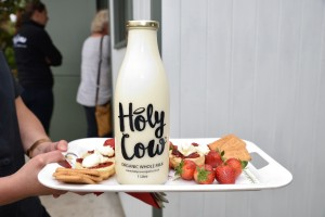 Milk bottle on tray of food