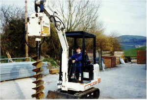 Beth Bright as a child sitting in digger
