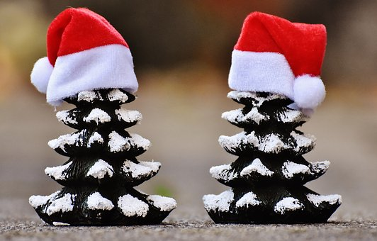 Christmas tree decoration with hat