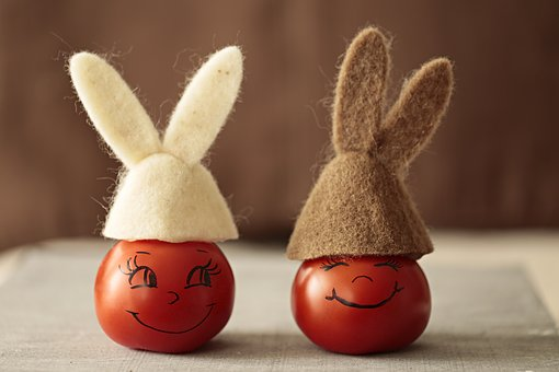 Decorated eggs with bunny ears