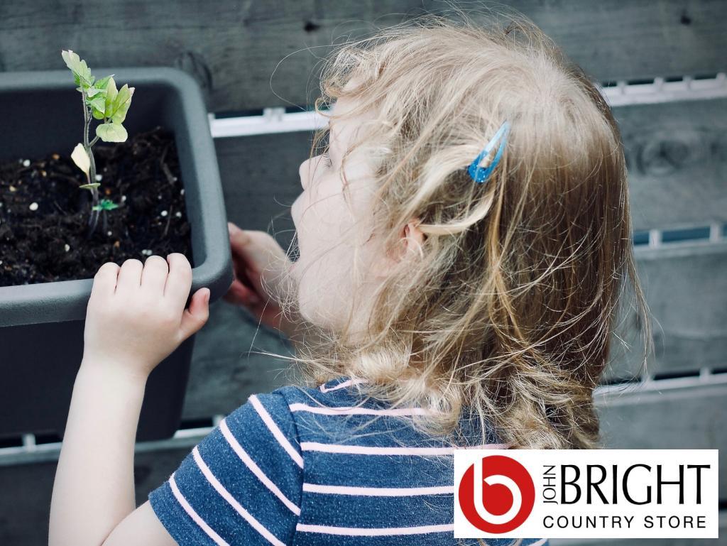 Child watching plant grow logo